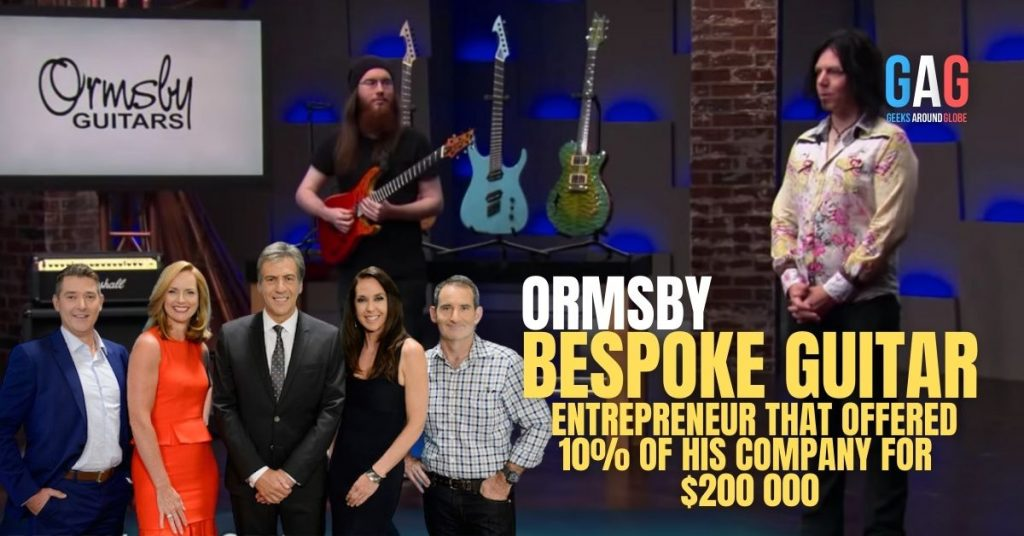 Founder of Ormsby bespoke guitars offers sharks 10% of his business at $200 000. This leads to value the company at $2 million